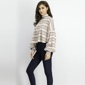 Free People Steph Tee Top Striped Pink Size XS